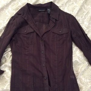 Button down shirt with silver thread detail NWOT